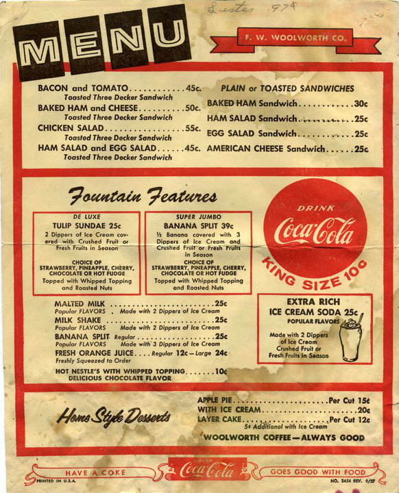 Dining out in the old days (grill, cream, coke, stainless